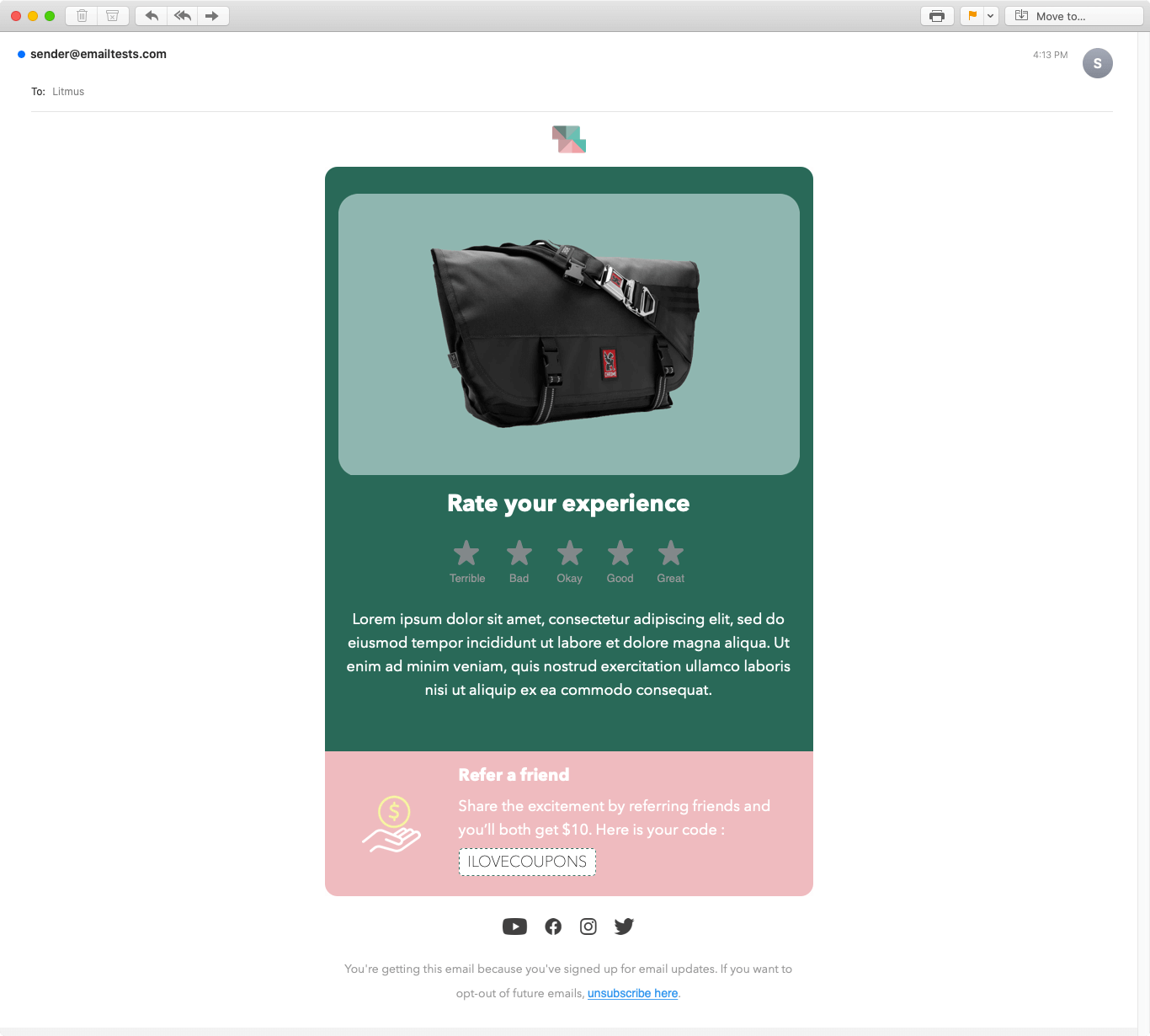Screenshot of Colorful review email display on Apple Mail