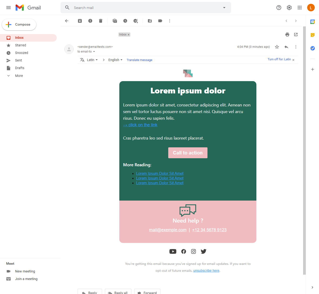 Screenshot of Colorful account information email display on Gmail