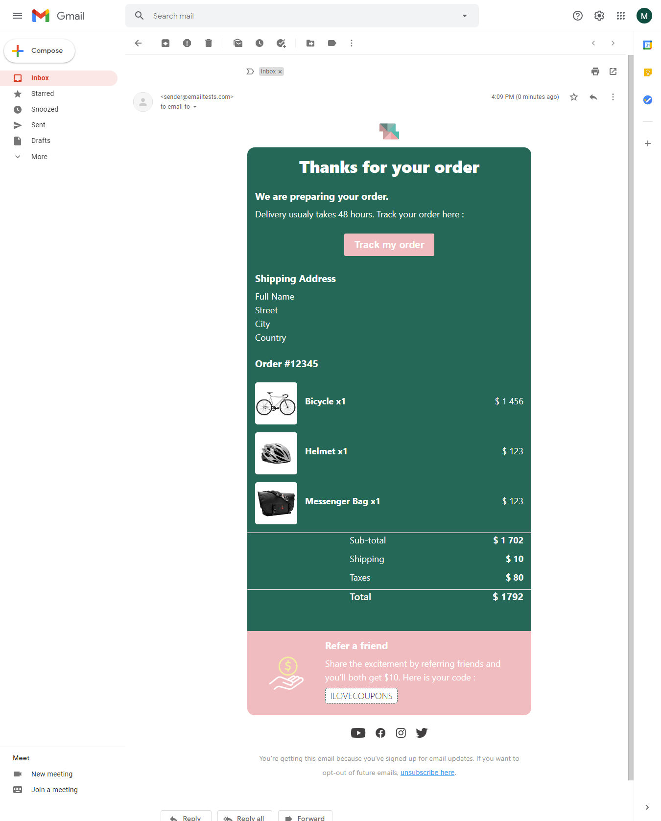 Screenshot of Colorful order confirmation email display on Gmail