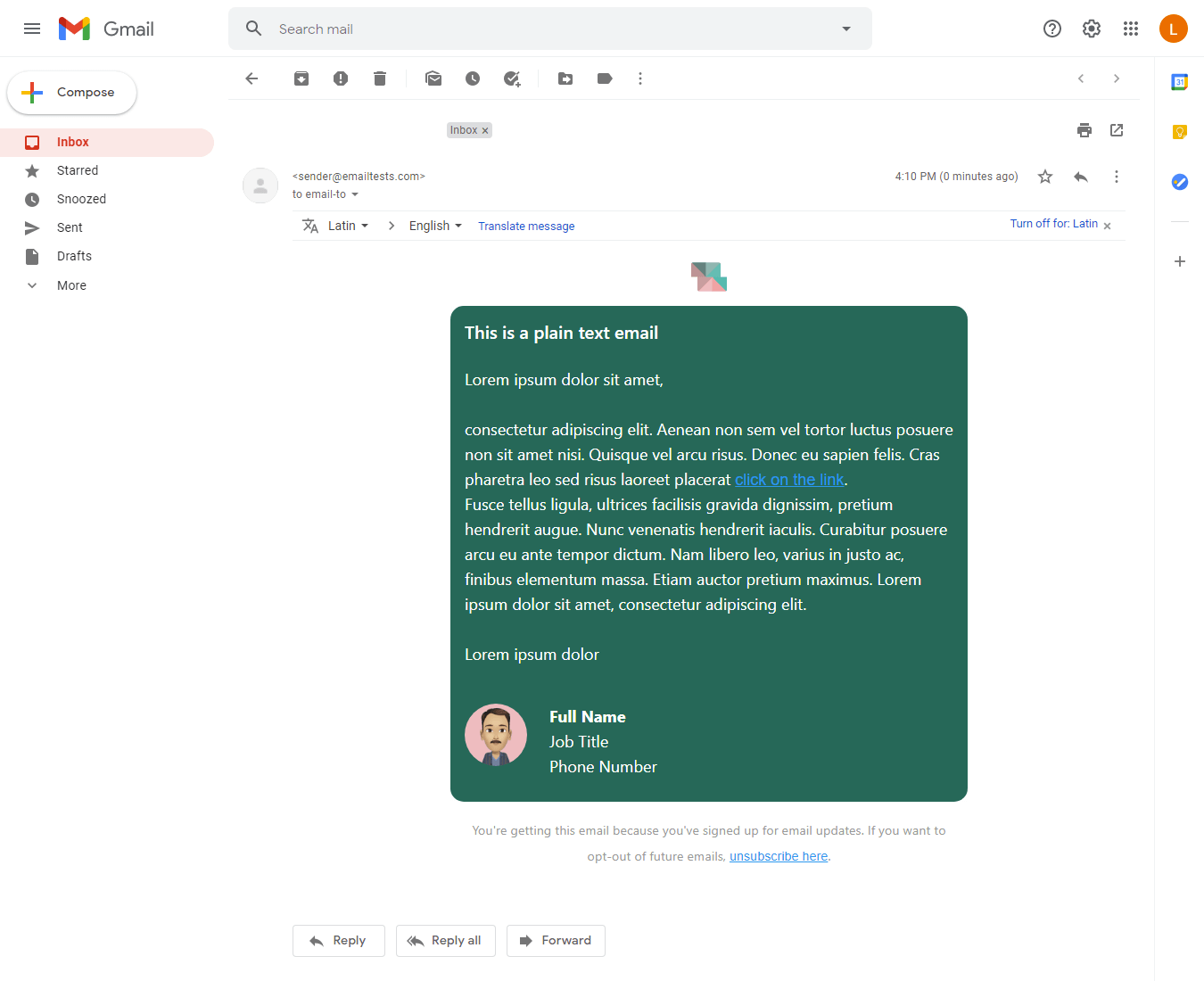 Screenshot of Colorful plain text email display on Gmail