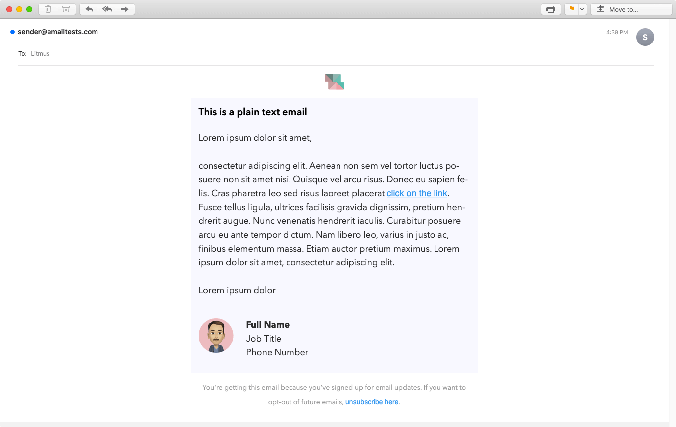 Screenshot of Simplicity plain text email display on Apple Mail