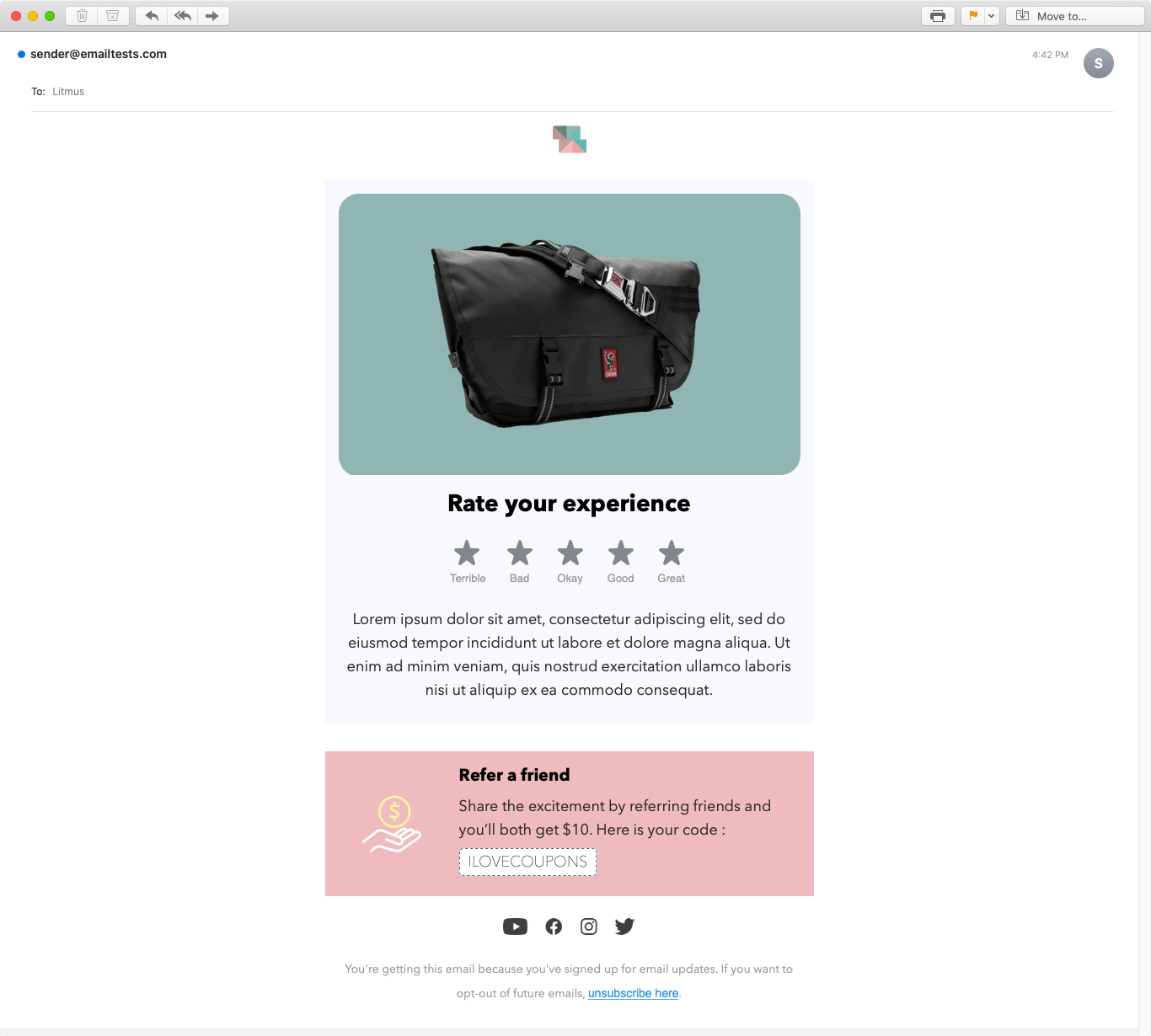 Screenshot of Simplicity review email display on Apple Mail