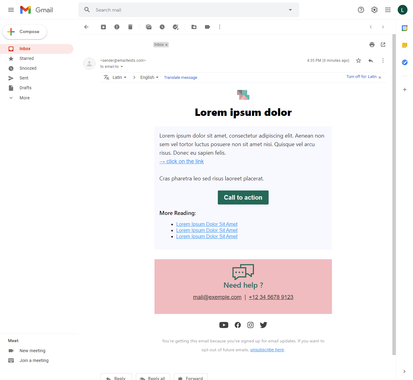 Screenshot of Simplicity account information email display on Gmail