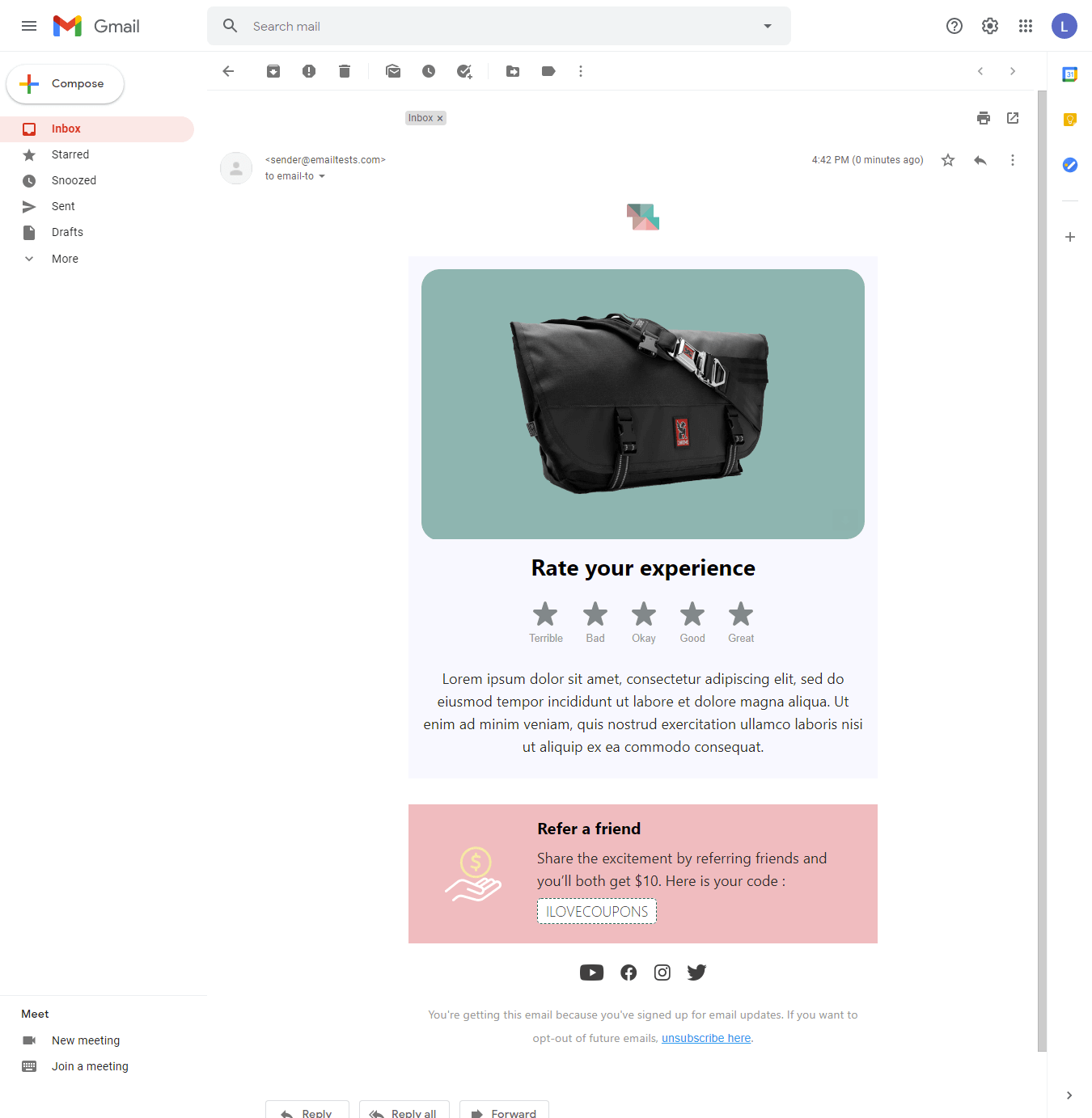 Screenshot of Simplicity review email display on Gmail