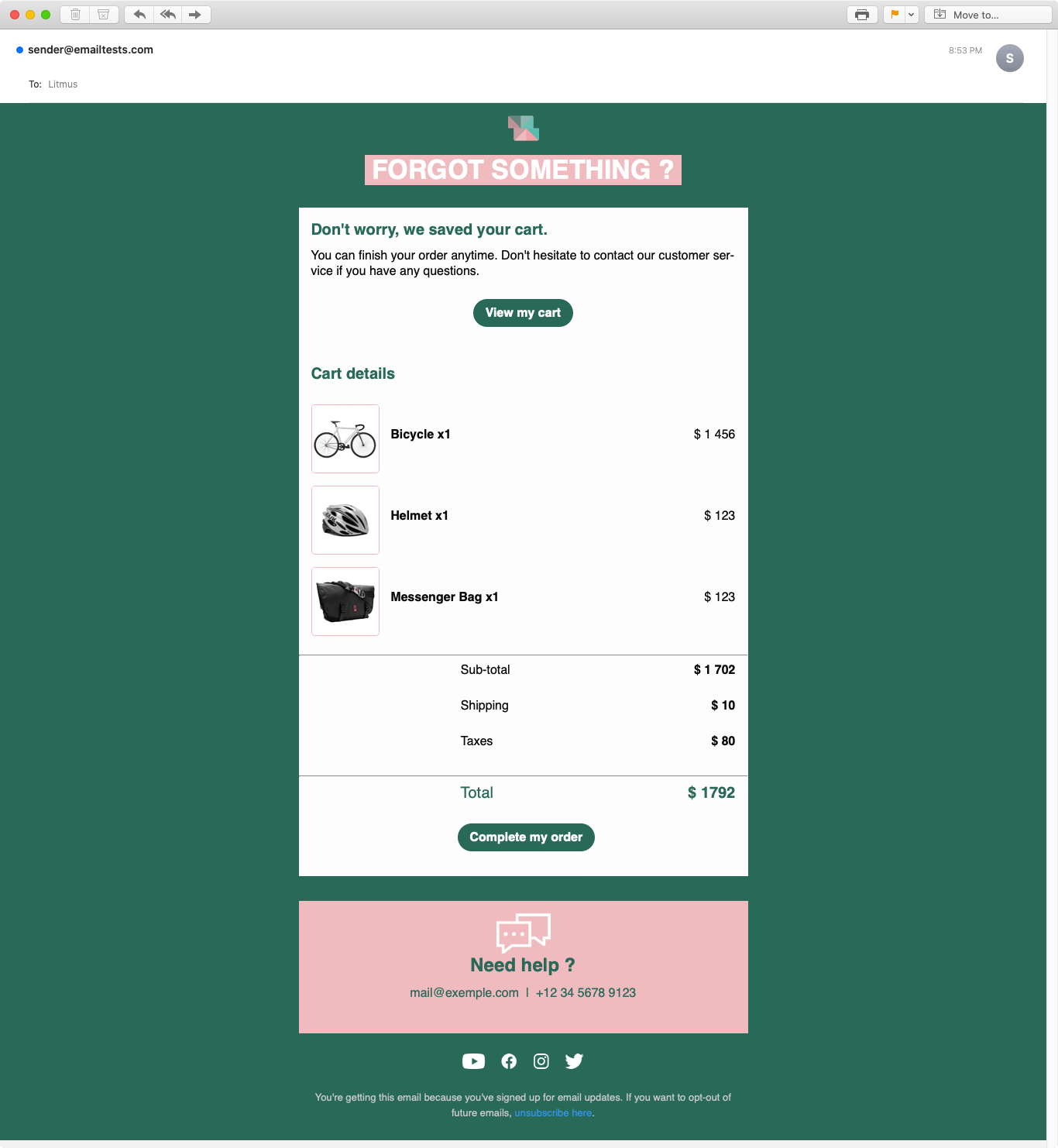 Screenshot of Squared abandoned cart email display on Apple Mail