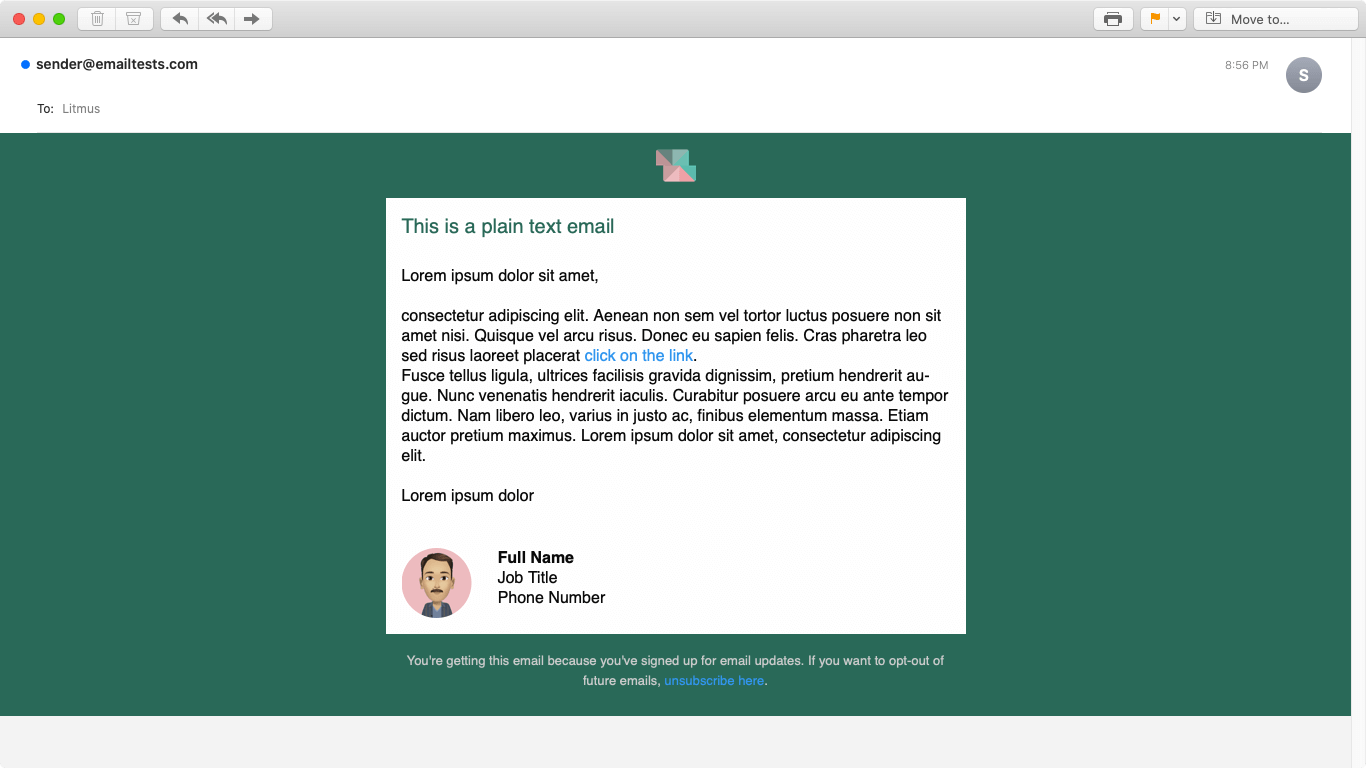 Screenshot of Squared plain text email display on Apple Mail