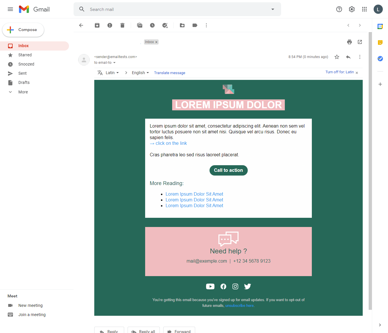 Screenshot of Squared account information email display on Gmail