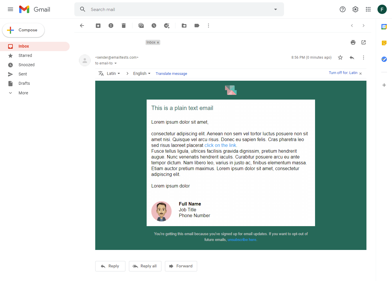 Screenshot of Squared plain text email display on Gmail