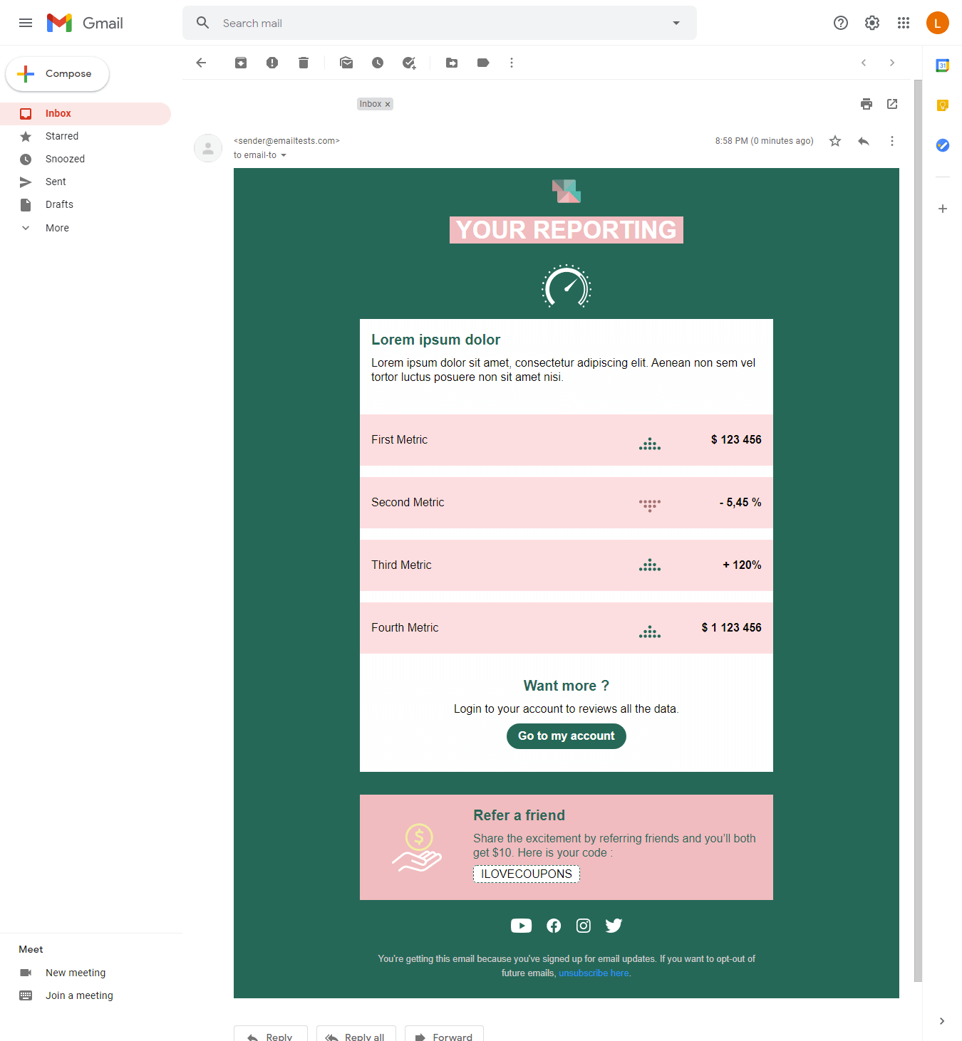 Screenshot of Squared reporting email display on Gmail