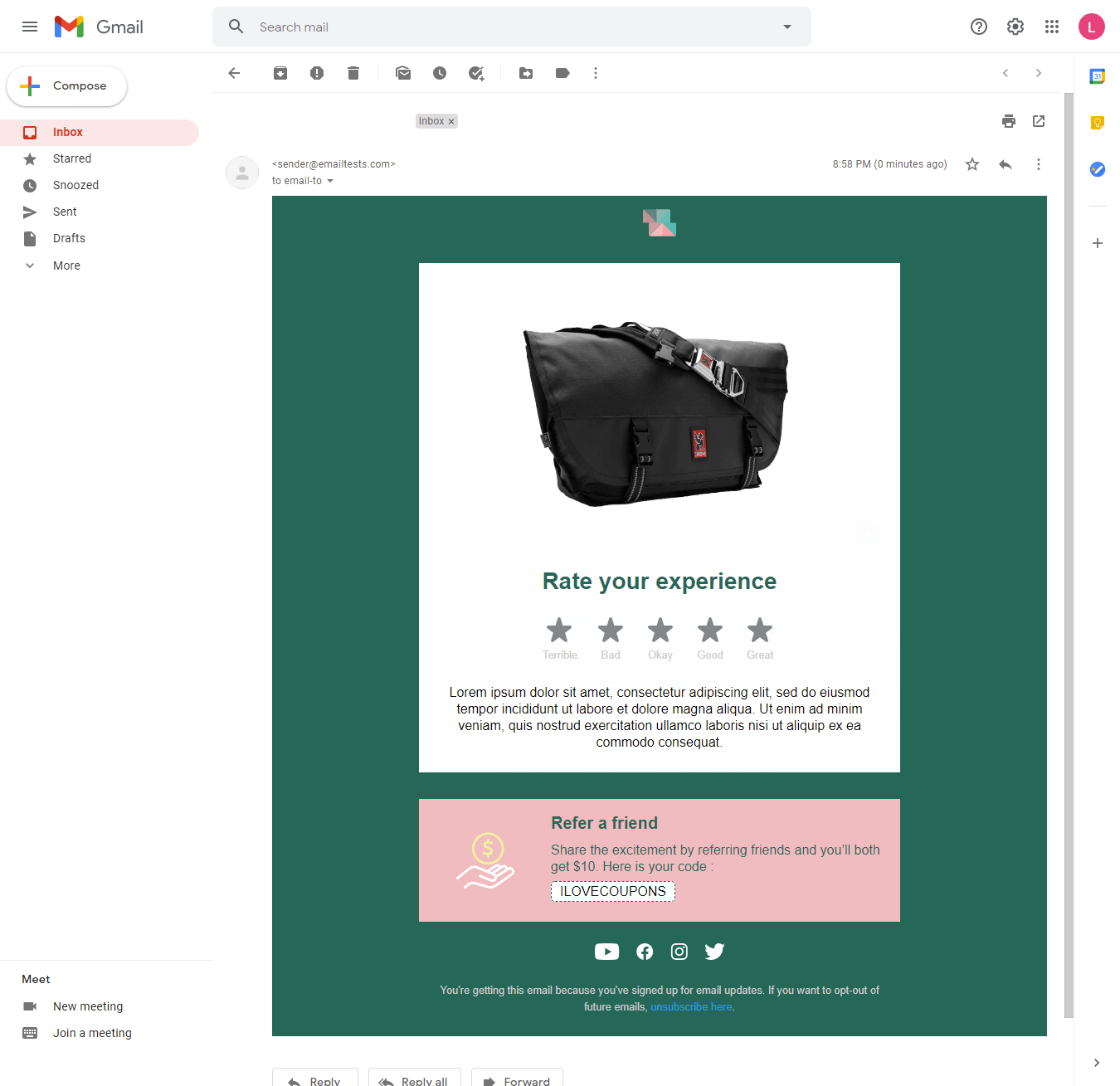 Screenshot of Squared review email display on Gmail