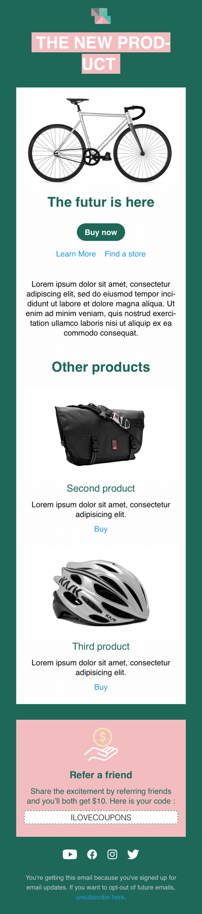 Screenshot of Squared product email display on iPhone Mail